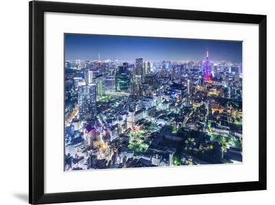 Tokyo, Japan City Skyline with Tokyo Tower and Tokyo Skytree in the Distance.-SeanPavonePhoto-Framed Photographic Print