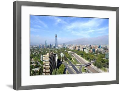 Skyline of Downtown Santiago, the Capital of Chile, Featuring 300-Meter High Gran Torre Santiago, T-1photo-Framed Photographic Print
