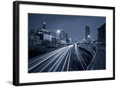 Nighttime Highway Traffic.-rudi1976-Framed Photographic Print