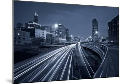 Nighttime Highway Traffic.-rudi1976-Mounted Photographic Print