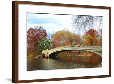 New York City Manhattan Central Park Panorama at Autumn with Skyscrapers, Foliage, Lake and Bow Bri-Songquan Deng-Framed Photographic Print