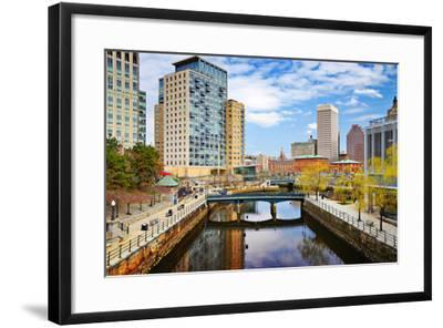 Providence, Rhode Island Cityscape at Waterplace Park.-SeanPavonePhoto-Framed Photographic Print