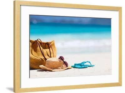 Straw Hat, Bag, Sun Glasses and Flip Flops on a Tropical Beach-BlueOrange Studio-Framed Photographic Print