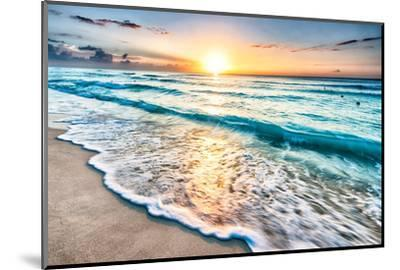 Sunrise over Beach in Cancun-rebelml-Mounted Photographic Print