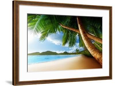 Sunset on Beach Anse Takamaka of Mahe Island, Seychelles-Iakov Kalinin-Framed Photographic Print