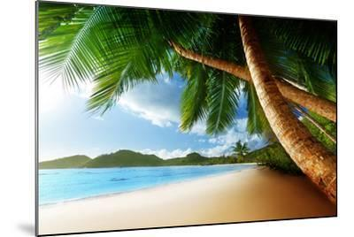 Sunset on Beach Anse Takamaka of Mahe Island, Seychelles-Iakov Kalinin-Mounted Photographic Print