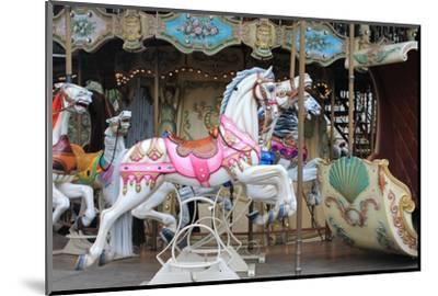 Painted Carousel Horses, Paris, France-John Cumbow-Mounted Photographic Print