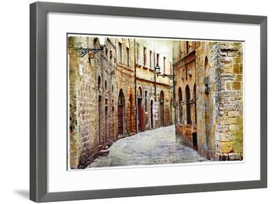 Streets of Medieval Towns of Tuscany. Italy-Maugli-l-Framed Photographic Print