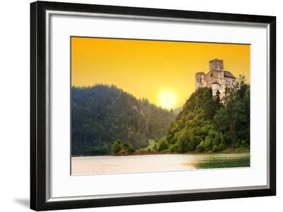 Medieval Niedzica Castle at Czorsztyn Lake in Poland-Patryk Kosmider-Framed Photographic Print