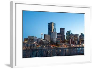 Calgary Skyline at Night-Jeff Whyte Photography-Framed Photographic Print