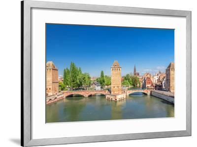 Strasbourg, Medieval Bridge Ponts Couverts. Alsace, France.-g215-Framed Photographic Print