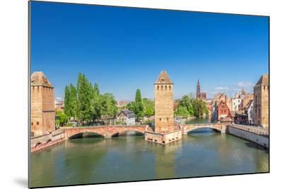 Strasbourg, Medieval Bridge Ponts Couverts. Alsace, France.-g215-Mounted Photographic Print