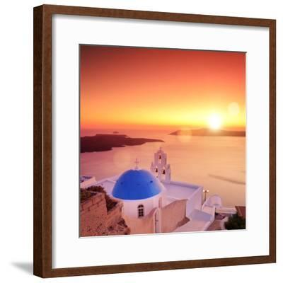 View of a Blue Dome of the Church St. Spirou in Firostefani on the Island of Santorini Greece, at S-buso23-Framed Photographic Print