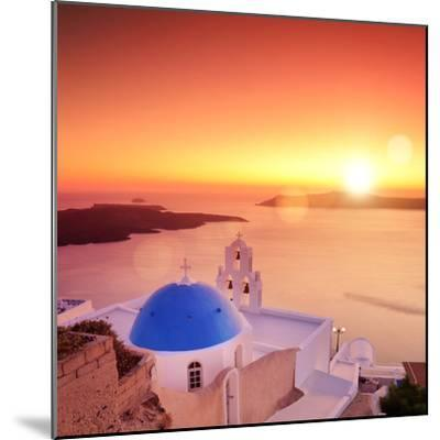 View of a Blue Dome of the Church St. Spirou in Firostefani on the Island of Santorini Greece, at S-buso23-Mounted Photographic Print