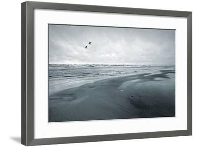 Stylized Monochrome Photo: Two Seagulls and Empty Coast of the Sea. Gulf of Finland, Baltic Sea, Na-Eugene Sergeev-Framed Photographic Print