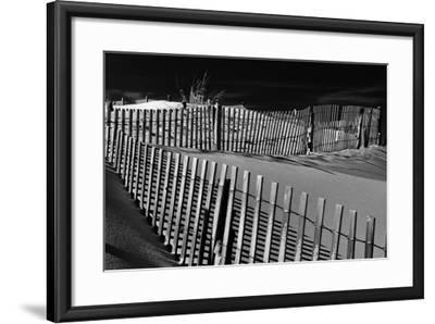 Dunes and Fences at Cape Henlopen State Park, on the Atlantic Coast in Delaware.-Jon Bilous-Framed Photographic Print