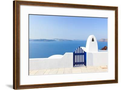 Santorini Balconny with View at the Aegean Sea-Netfalls-Framed Photographic Print