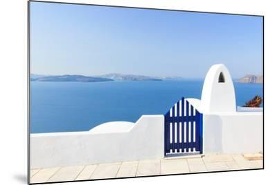 Santorini Balconny with View at the Aegean Sea-Netfalls-Mounted Photographic Print