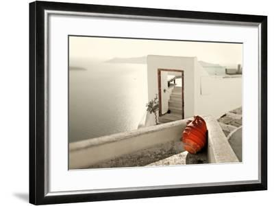 Romantic Holidays - Amazing Santorini . Artistic Toned Picture-Maugli-l-Framed Photographic Print