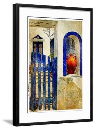 Pretty Old Architectural Details of Santorini - Retro Styled Picture-Maugli-l-Framed Photographic Print