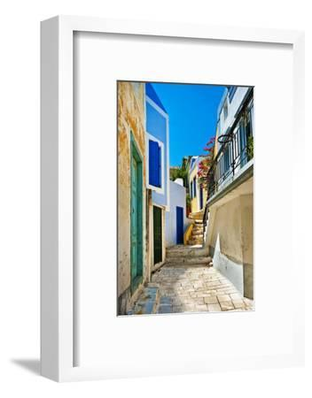 Pretty Colored Streets of Greek Islands-Maugli-l-Framed Photographic Print
