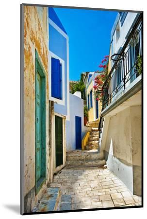 Pretty Colored Streets of Greek Islands-Maugli-l-Mounted Photographic Print