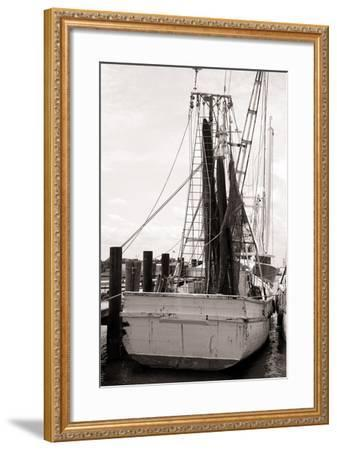 Old Shrimp Boat in Marina-R. Peterkin-Framed Photographic Print