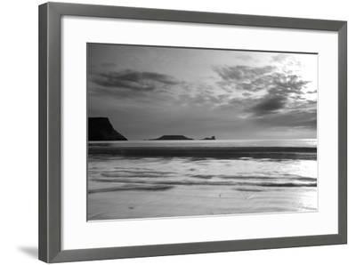 Monochrome Seascape, Rhossili, Gower, Wales.-Swellphotography UK-Framed Photographic Print