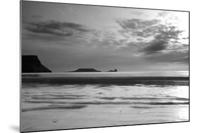 Monochrome Seascape, Rhossili, Gower, Wales.-Swellphotography UK-Mounted Photographic Print