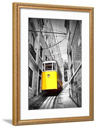 Funicular (Elevador Do Lavra) in Lisbon, Portugal-Zoom-zoom-Framed Photographic Print