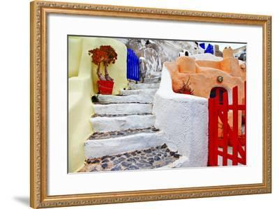 Colors of Santorini Series - Pictorial Detail of Oia Village-Maugli-l-Framed Photographic Print