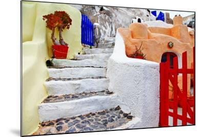 Colors of Santorini Series - Pictorial Detail of Oia Village-Maugli-l-Mounted Photographic Print