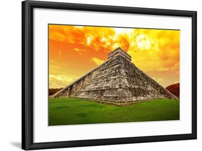 Amazing Sky over Kukulkan Pyramid in Chichen Itza, Mexico-Patryk Kosmider-Framed Photographic Print
