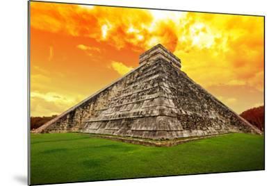 Amazing Sky over Kukulkan Pyramid in Chichen Itza, Mexico-Patryk Kosmider-Mounted Photographic Print