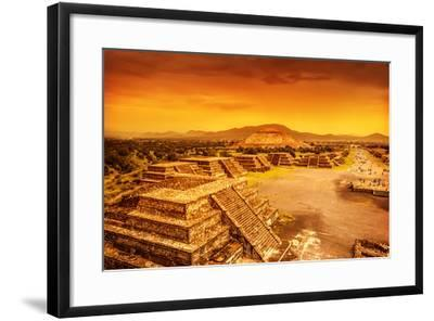 Pyramids of the Sun and Moon on the Avenue of the Dead, Teotihuacan Ancient Historic Cultural City,-Anna Omelchenko-Framed Photographic Print