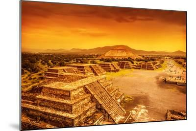 Pyramids of the Sun and Moon on the Avenue of the Dead, Teotihuacan Ancient Historic Cultural City,-Anna Omelchenko-Mounted Photographic Print