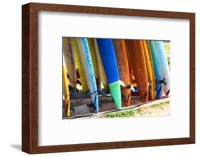 Surf Boards Standing on Kuta Bali Beach-bioraven-Framed Photographic Print
