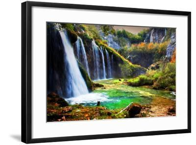Waterfall in Forest. Crystal Clear Water. Plitvice Lakes, Croatia-Michal Bednarek-Framed Photographic Print