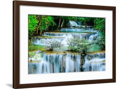 Huay Mae Khamin - Waterfall, Flowing Water, Paradise in Thailand.-ThaiWanderer-Framed Photographic Print