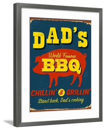 Vintage Design -  Dad's BBQ-Real Callahan-Framed Photographic Print