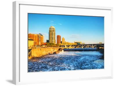 Downtown Minneapolis, Minnesota at Night Time and Saint Anthony Falls-photo.ua-Framed Photographic Print