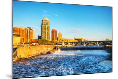 Downtown Minneapolis, Minnesota at Night Time and Saint Anthony Falls-photo.ua-Mounted Photographic Print