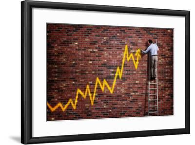 Businessman Standing on a Ladder and Drawing a Graph with Positive Trend in Graffiti Style Yellow S-Flynt-Framed Photographic Print