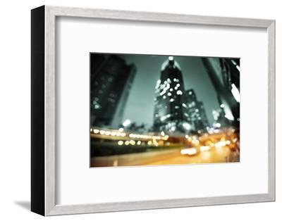 Night Lights of the Hong Kong out of Focus-Iakov Kalinin-Framed Photographic Print
