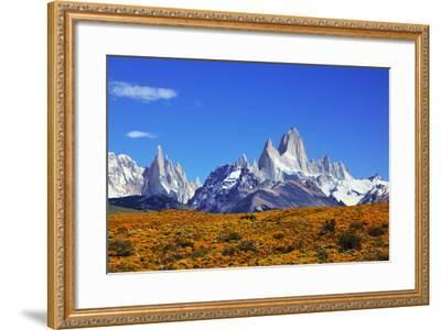 The Magnificent Mountain Range - Mount Fitzroy in Patagonia, Argentina. Summer Sunny Noon-kavram-Framed Photographic Print