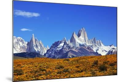 The Magnificent Mountain Range - Mount Fitzroy in Patagonia, Argentina. Summer Sunny Noon-kavram-Mounted Photographic Print