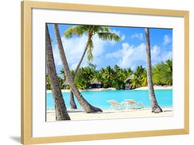 Beautiful Beach on Bora Bora Island in French Polynesia-BlueOrange Studio-Framed Photographic Print