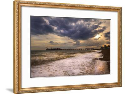 Stunning Sunset over Ocean and Pier-Veneratio-Framed Photographic Print