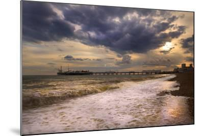 Stunning Sunset over Ocean and Pier-Veneratio-Mounted Photographic Print