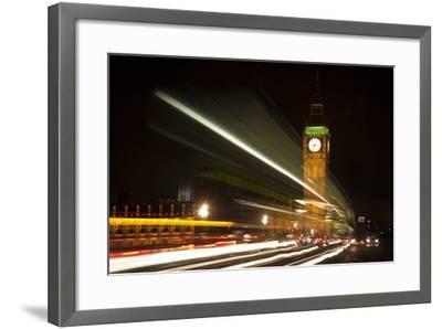 Long Exposure Lights from Traffic Big Ben London at Night-Veneratio-Framed Photographic Print